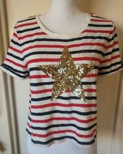 Tommy Hilfiger Sequin & Embroidery Star Printed Relaxed Fit T-Shirt SZ  L NWT