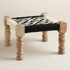 Farmhouse Fabric Wooden Stool Foldable Handcrafted Durable Furniture Home Decor