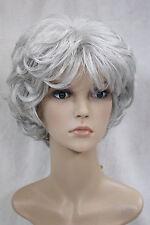 La nouvelle, gris/ argenté, bouclés, bref,femme, perruque.+ gratuit hairne