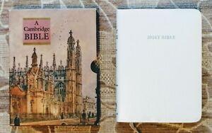 A CAMBRIDGE BIBLE: KING JAMES VERSION, WHITE LEATHER BOUND + PRES SLIPS *NEW*