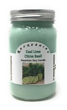 Cool Lime Citrus Basil - Pure Soy Candle - Hand Poured In Mason Jar - SHIPS FREE