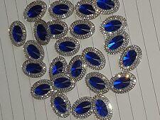 10 blue clear Sew On Stitch Jewel 18mm GEM CRYSTAL RHINESTONE trim Bead