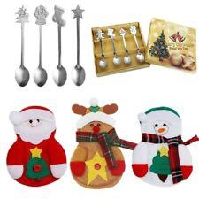 4Pcs Stainless Tea Scoops Kids Spoon Tableware Christmas Coffee Spoons Xmas Gift