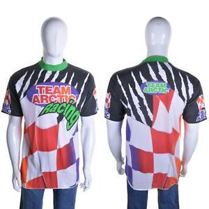 Vintage 90s Team Arctic Rennen T-Shirt XL Neon Zielflagge Grafik Aufdruck