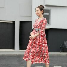 Pregnant Ladies Floral Dress Casual Lovely Maternity Clothes Comfy Ruffle Sleeve