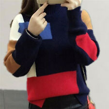 Women's Contrast Color Pullover Jumper Long Sleeve Knitted Tops Sweater 0f Navy