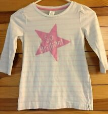 "Gymboree Hop 'N' Roll White & Pink Striped ""So Brilliant"" Star Top Girls Size 8"
