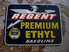 ORIGINAL Vintage REGENT PREMIUM ETHYL GASOLINE Porcelain Advertising Sign RARE