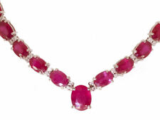 37.00ct Ruby & Diamond Necklace in 14K White Gold