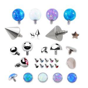 Dermal Anchor Top Micro Dermal Head Surface Piercing Balls Cones Domes Gems