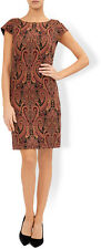 Ex Monsoon Orange Riley Shift Jacquard Dress Cap Sleeve Paisley Lined (BR23)