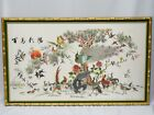 """MONUMENTAL FRAMED ANTIQUE EARLY 20c CHINESE SILK EMBROIDERY BIRD PANEL ~ 48""""x28"""""""