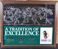 VINTAGE 1996 MILLER LITE BEER & KENTUCKY DERBY 122 ADVERTISING BAR SIGN FRAMED