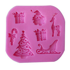 3D Xmas Sleigh Fondant Cake Chocolate Sugarcraft Mold Mould Silicone Cutter