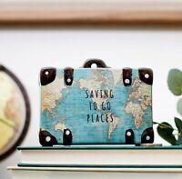 Sass & Belle Vintage Map Money Box Travel Suitcase Piggy Bank Treat Fund Saving