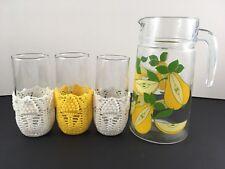 Vintage French Luminarc Glass Jug ~ Pears Design ~ x3 Glasses w Crochet Holders