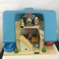 Little Tikes Vintage Blue Roof Dollhouse with Figures Furniture Red Mini Van