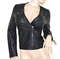 GIUBBINO NERO donna giacca eco pelle avvitata giacchino sexy aderente zip A9
