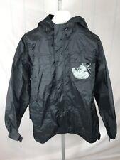 *DISNEY* Black Rain Windbreaker JACKET Hooded Mickey Mouse Size Large EUC (O)