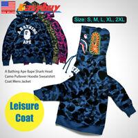 A Bathing Ape Shark Head Camo Pullover Hoodie Sweatshirt Coat Mens Jacket