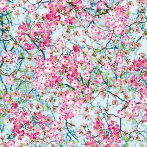 Fabric Flowers Cherry Blossoms Pink Cotton TIMELESS TREASURES 1/4 yard 2763