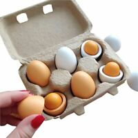 6pcs Set Wooden Eggs Yolk Pretend Play Toy Kitchen Cooking Food Kid Child Gift