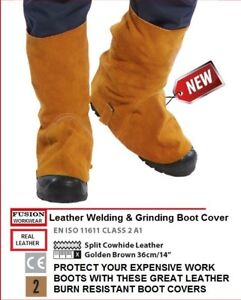SAFETY OVER BOOTS COVERS,LEATHER, BURN RESISTANT,WELDING GRINDING,HEAT RESISTANT