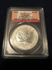 2016 Canada $5 PCGS SP69 Silver Maple Leaf. Population Of Only 455 in SP69