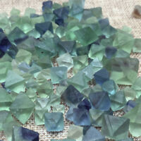 1Pc Natural Clear Blue Green Fluorite Crystal Octahedron Rough Specimens Stone