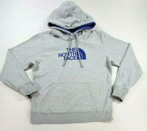 North Face Womens Pullover Sweatshirt Large Adult Hoodie Gray Purple Logo