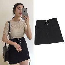 Fashion Women Lady Mini Skirt Metal Ring Zipper Skirt High Waist Gothic