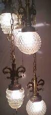 EF EF Ind. Mid-Century Hollywood Regency 5 Hanging Glass Swag Lamp Chandelier