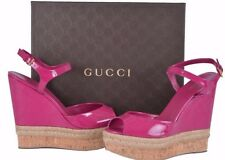 GUCCI Pink Patent Leather Wedge Platform Sandals Size 38 BRAND NEW
