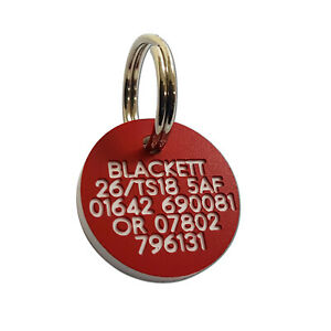 Pet Dog Cat ID Collar Tags - Deeply engraved FREE, 21mm Plastic Disc. 7 COLOURS