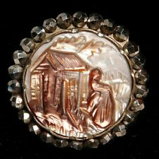 New listing Antique Button 19th C. Carved Cameo Pearl Shell w Bright Steel Border