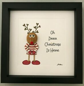 Christmas Gift 3D Reindeer Pebble Picture Oh Deer Christmas Is Here Red Or Green