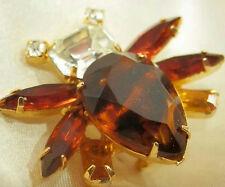 Pretty And Fun Vintage 50's Givre Glass Navette Rhinestone Bug Brooch Pin 494O5