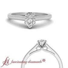 Solitaire 0.50 Carat Pear Shaped Diamond Bow Design Cathedral Engagement Ring