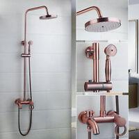 "Rainfall Antique Copper Bathroom 8"" Shower Head&Hand Shower Tub Mixer Tap Faucet"