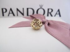 Genuine Pandora 14ct gold openwork heart diamond Charm 750466d