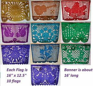 Mexican Papel Picado Cutout Flags Bunting Plastico Paper Plastic Foil Mylar