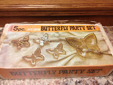 Vintage Jeannette Glass Amber Candy & Nut Dish Butterfly Party Set A3400