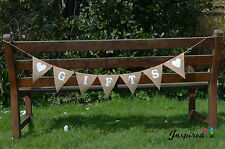 Gifts Hessian Fabric Bunting Banner Rustic Shabby Chic Wedding White Heart