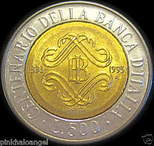 Italy ND1993R Bi-Metal Italian 500 Lire Coin Centennial Bank of Italy