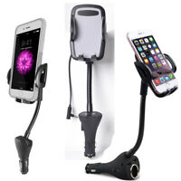 Car Cigarette Lighter USB Charger Mount Holder FM Transmitter Cradles for Phones
