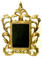 """Vintage Ornate Heavy Brass Picture Frame 3.5"""" x 5"""" Victorian Baroque Easel Back"""