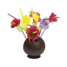 12pc Hawaiian Luau Tiki Flower Straws Beach Party Drinking Partyware Tableware
