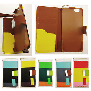 MULTI COLOURED STRIPE LEATHER WALLET CASE FOR APPLE IPHONE 4/4s/5/5s/6/6 plus UK