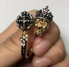 DOUBLE CROWN SKULL KING and QUEEN CRYSTAL GOLD RING SIZE 7