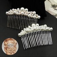Women's Pearl Hair Combs Accessories Hair Pin Rhinestone Tiara Bride Hair Clip